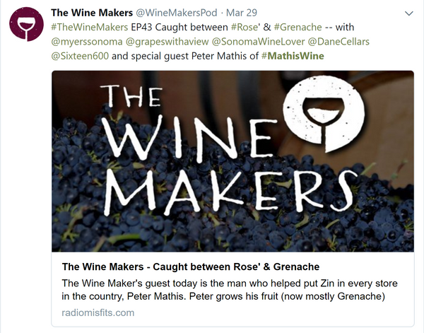 Tweet for The Wine Makers Podcast with Peter Mathis