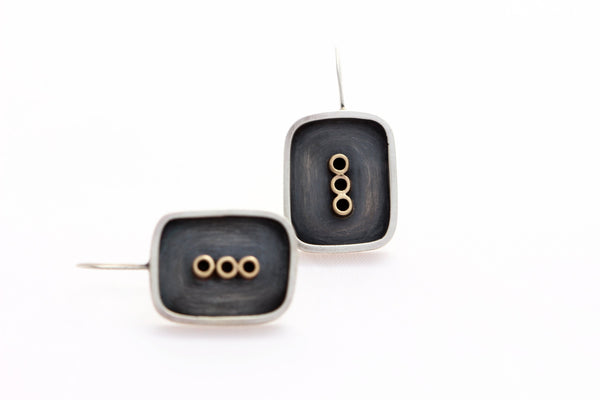 Oxidized Sterling Silver Earrings with Three 14k Gold Tubes