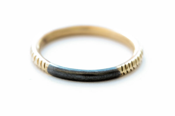 14k Gold Ring With Oxidized Silver Top