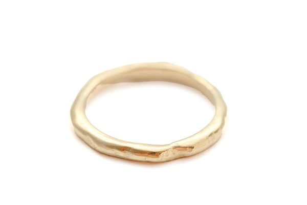 14k yellow gold organic texture band