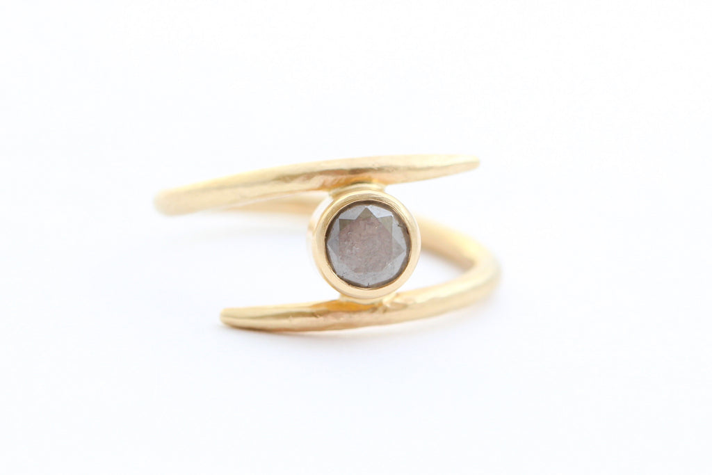 The Protector - Gold Grey Diamond Ring