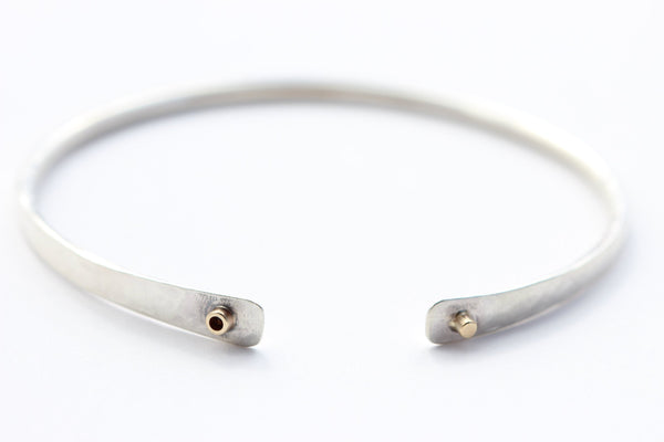 Hammered Sterling Silver Bracelet With 14k Gold