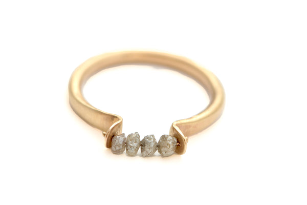 Gold and Grey Diamonds Beads Ring