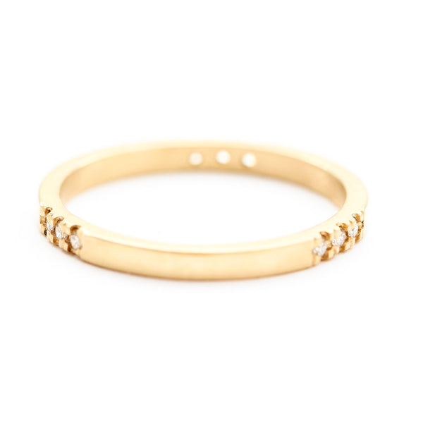 14k Gold Band with 9 White Diamonds