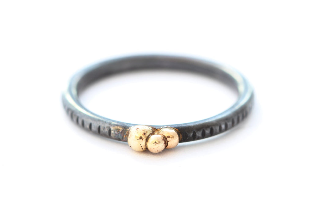 Textured Oxidized Sterling Silver Ring with Three 14k Gold Balls