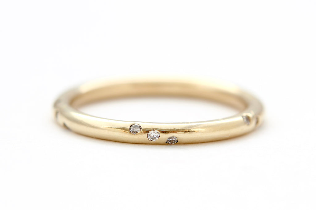 14k yellow gold ring with white diamonds
