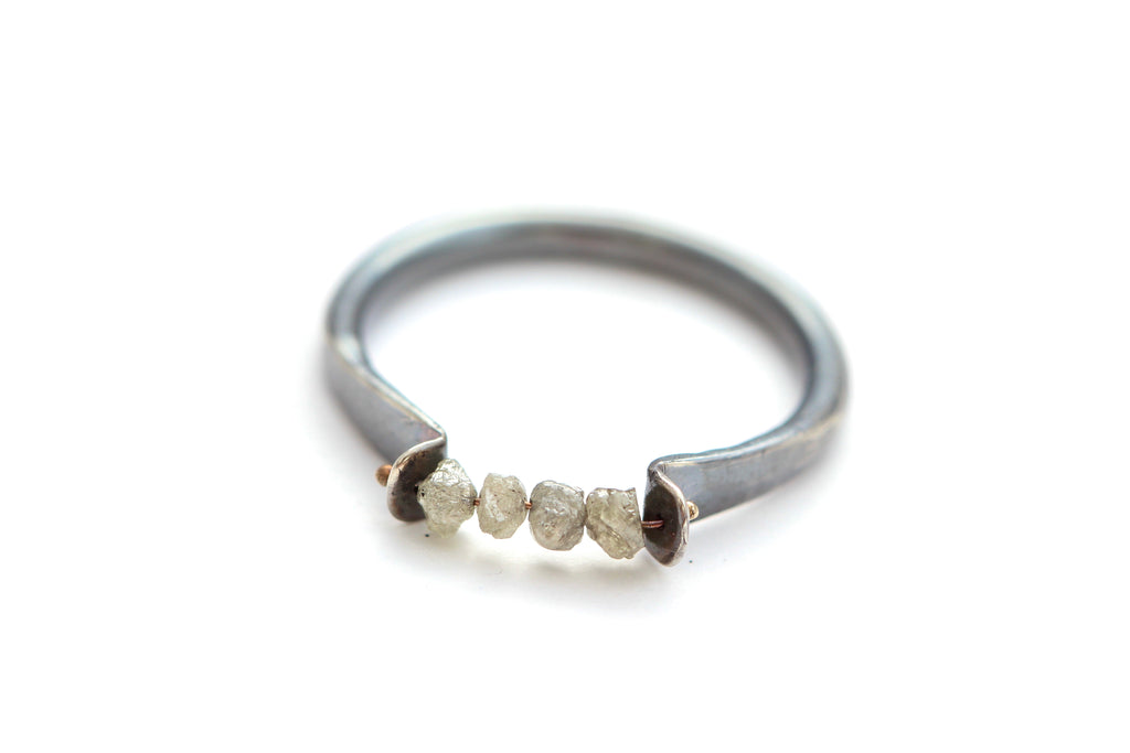 Oxidized Silver ring with grey diamond beads