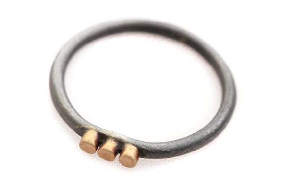 Oxidized Sterling Silver and three 14k Gold dots Ring