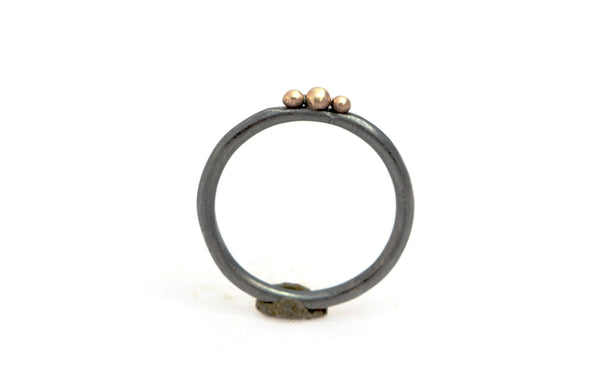 Oxidized Sterling Silver Ring with Three 14k Gold Balls