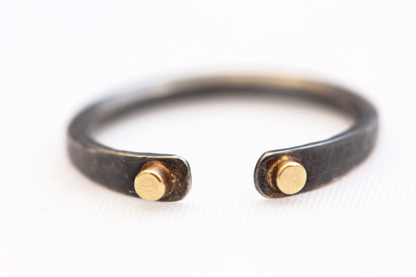 Oxidized Open Ring with 14k Gold and Sterling Silver