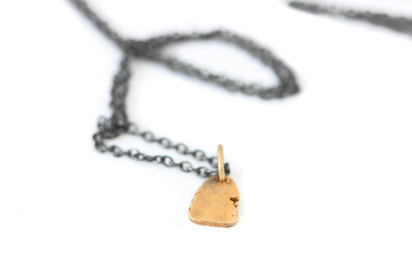 Oxidized Sterling Silver Necklace with 14k Gold Nugget