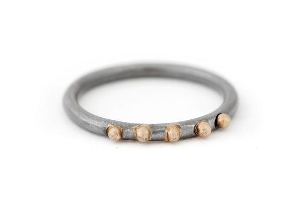 Oxidized Sterling Silver Ring with Five 14k Gold Balls Ring