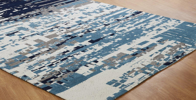 Stellara Canyon Blue Hand-Loomed Area Rug - AllRugs
