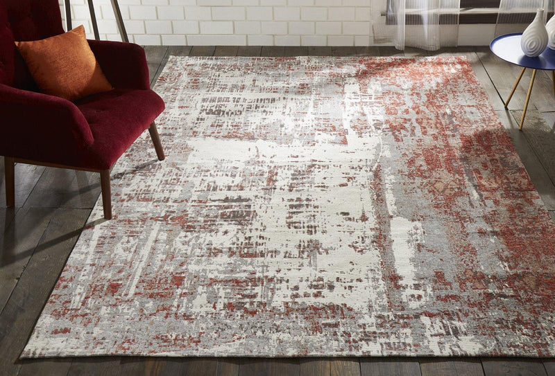 Stellara Rust/Grey Hand-Loomed Area Rug - AllRugs