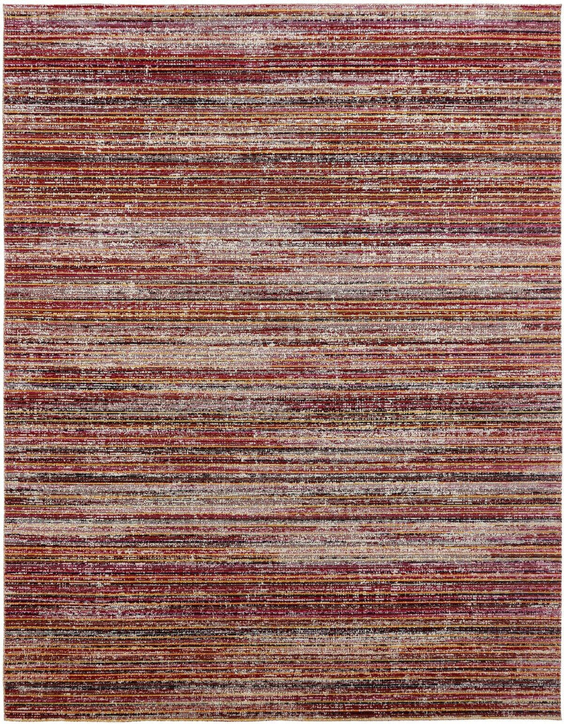 Vortex Wine Strie Indoor/Outdoor Hand-Knotted Area Rug - AllRugs