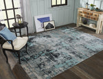 Load image into Gallery viewer, Vortex Aqua / Zinc Indoor/Outdoor Hand-Knotted Area Rug - AllRugs