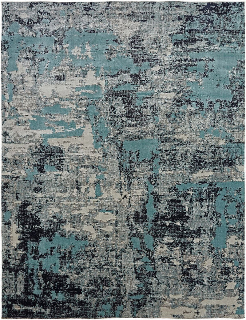 Vortex Aqua / Zinc Indoor/Outdoor Hand-Knotted Area Rug - AllRugs