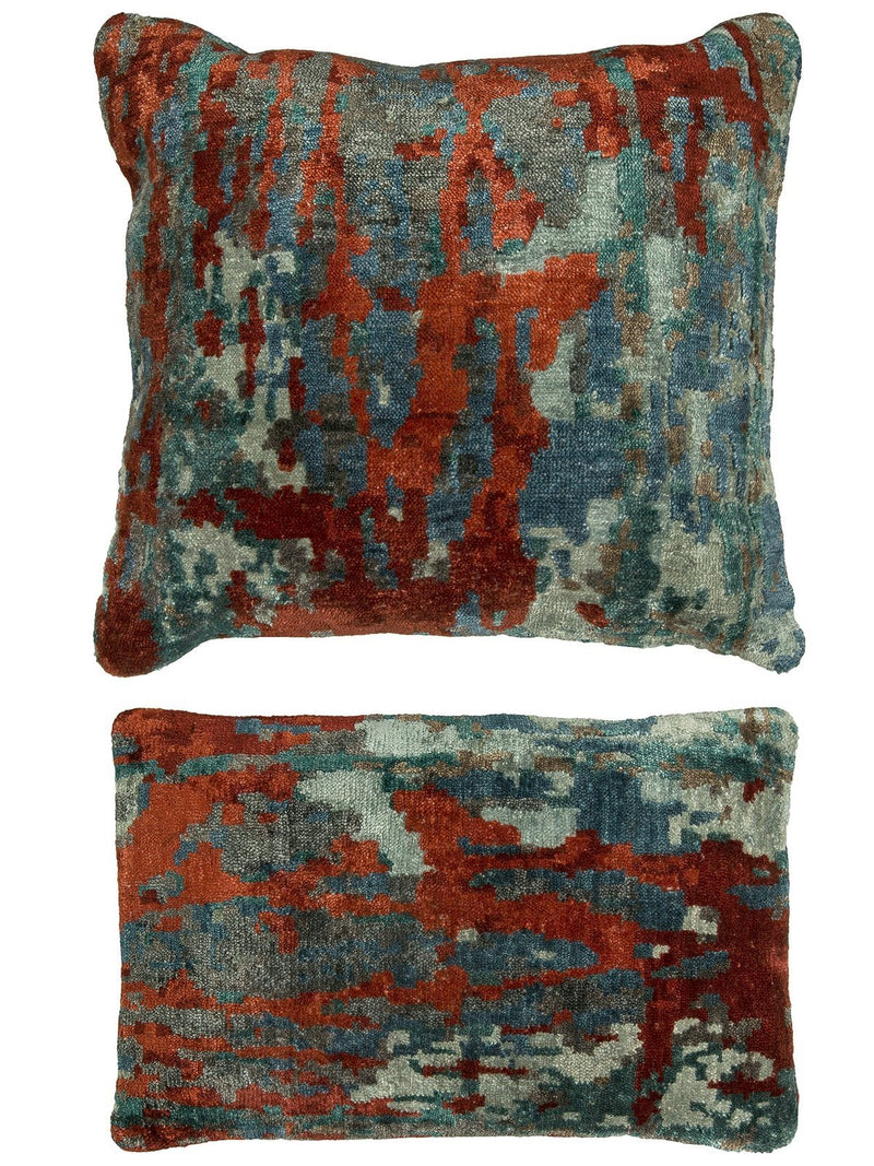 Pillow 870 Multi Blue / Scarlet - AllRugs