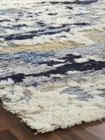 Load image into Gallery viewer, Alura Blue Tones Semi-Shag Hand-Knotted Area Rug