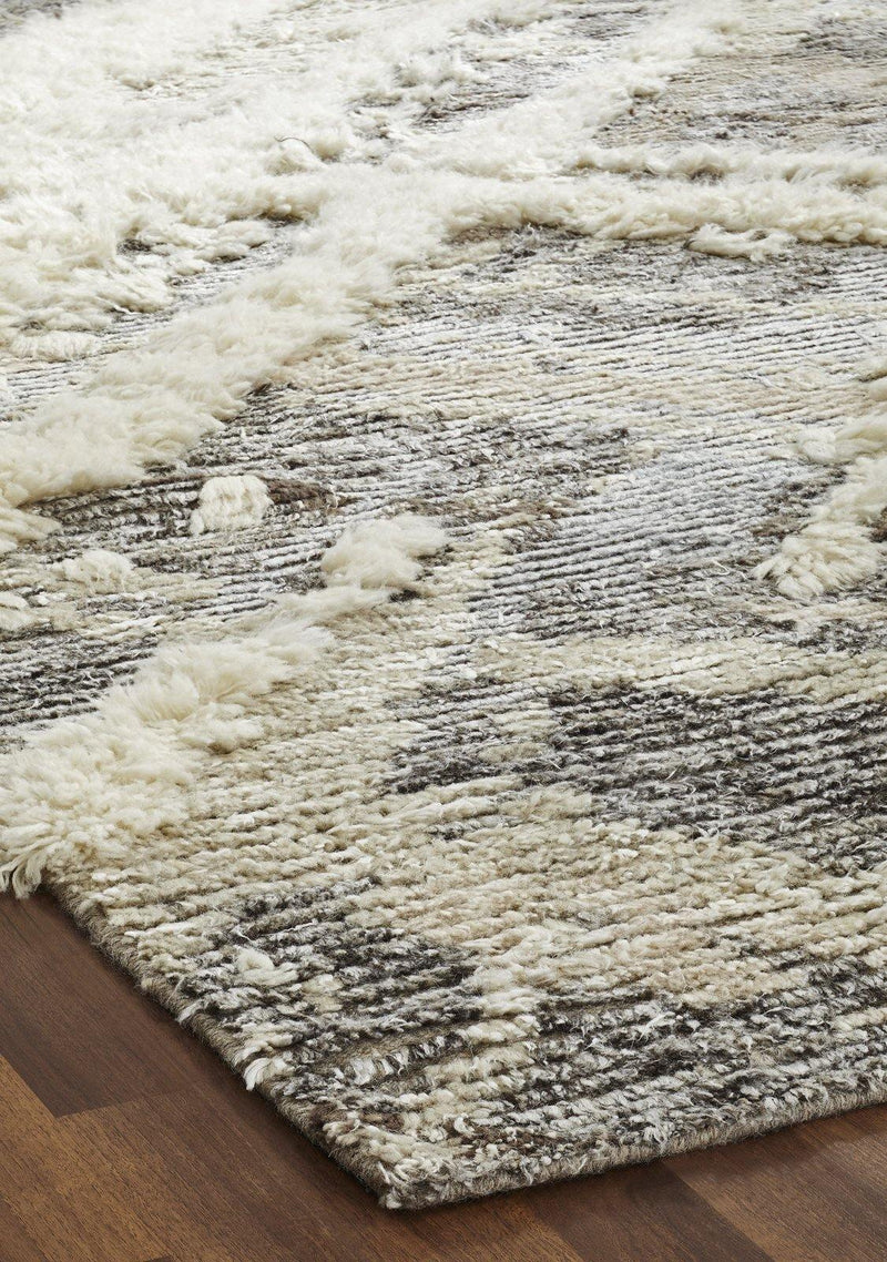Alura Parchment Greys Semi-Shag Hand-Knotted Area Rug - AllRugs