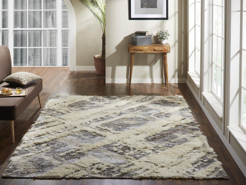 Alura Parchment Greys Semi-Shag Hand-Knotted Area Rug