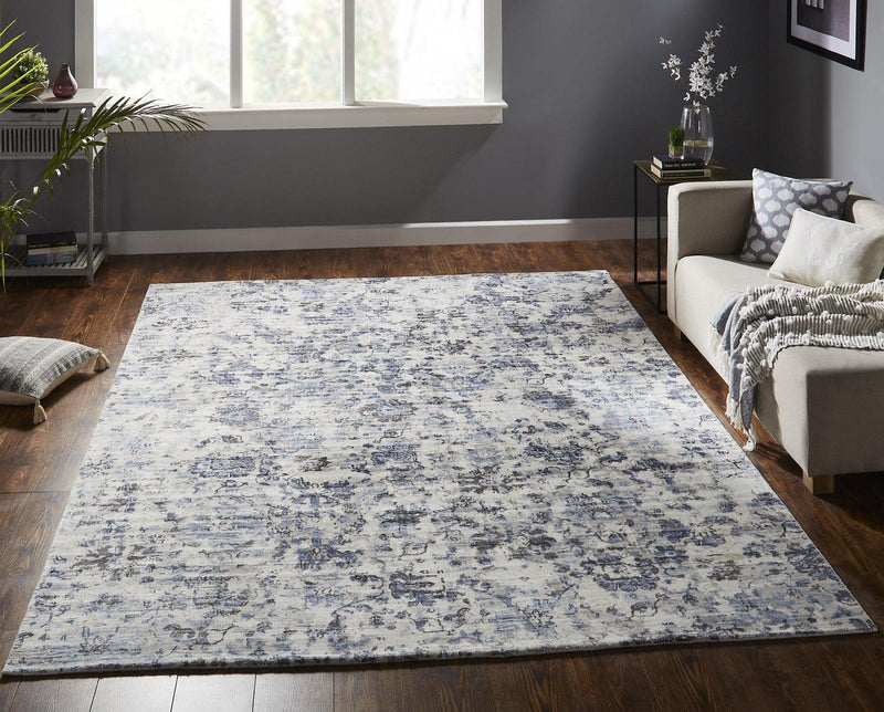 Nocturne Blue Tones Hand-Loomed Area Rug - AllRugs