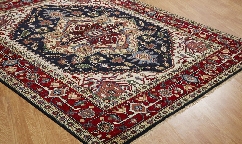 Moonrise Burgundy Blues Hand-Knotted Area Rug - AllRugs