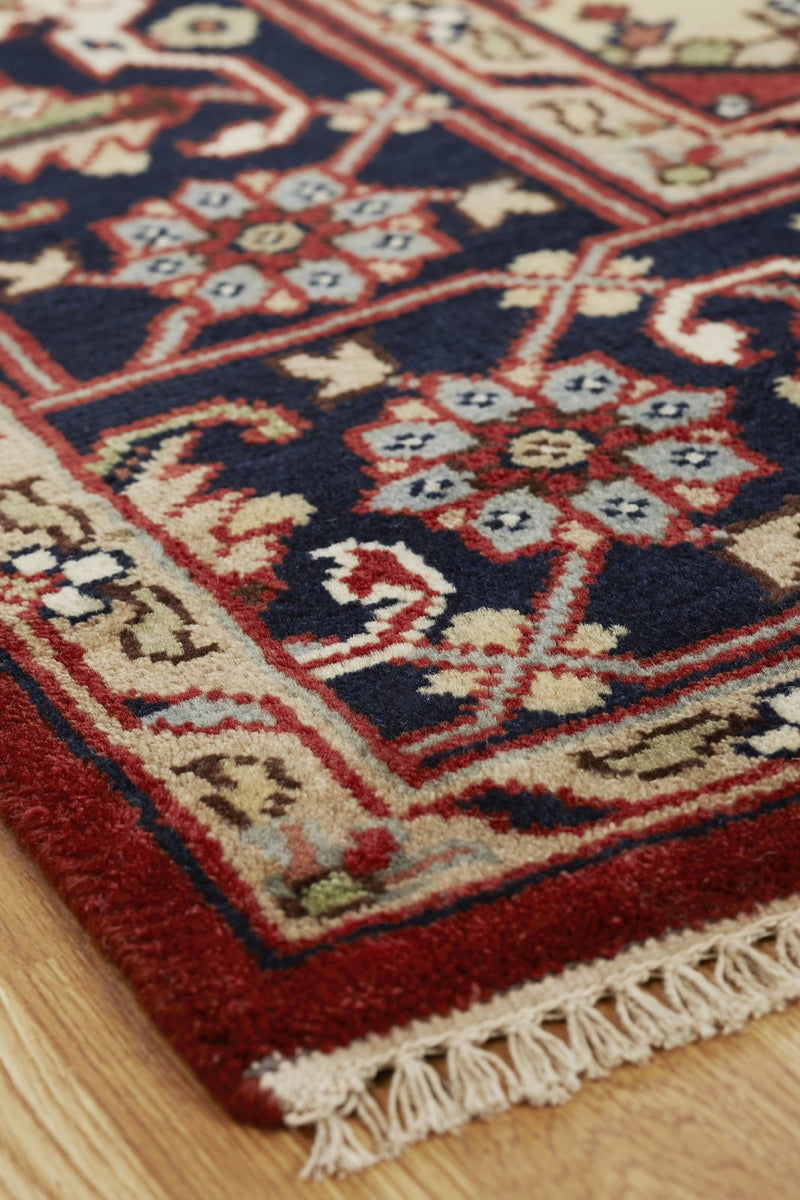 Moonrise Red Navy Hand-Knotted Area Rug - AllRugs