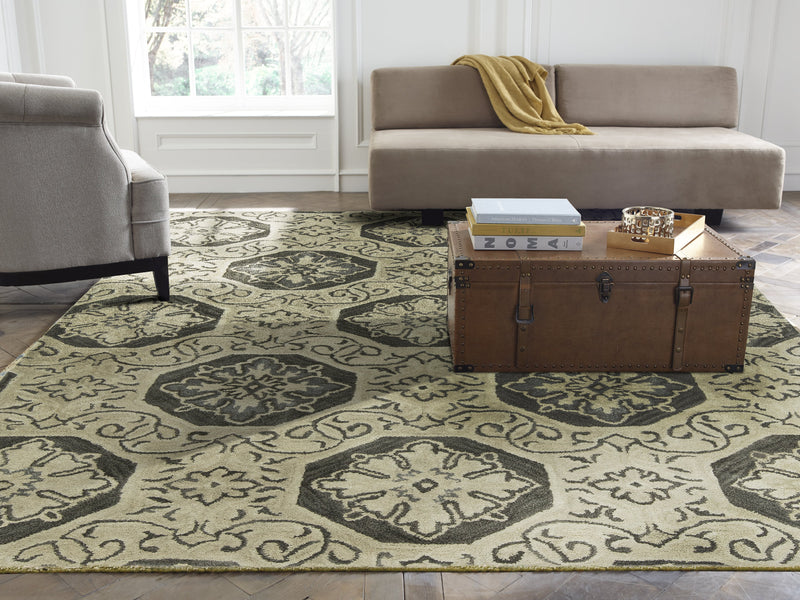 Libra Beige/Grey Hand-Knotted Area Rug - AllRugs