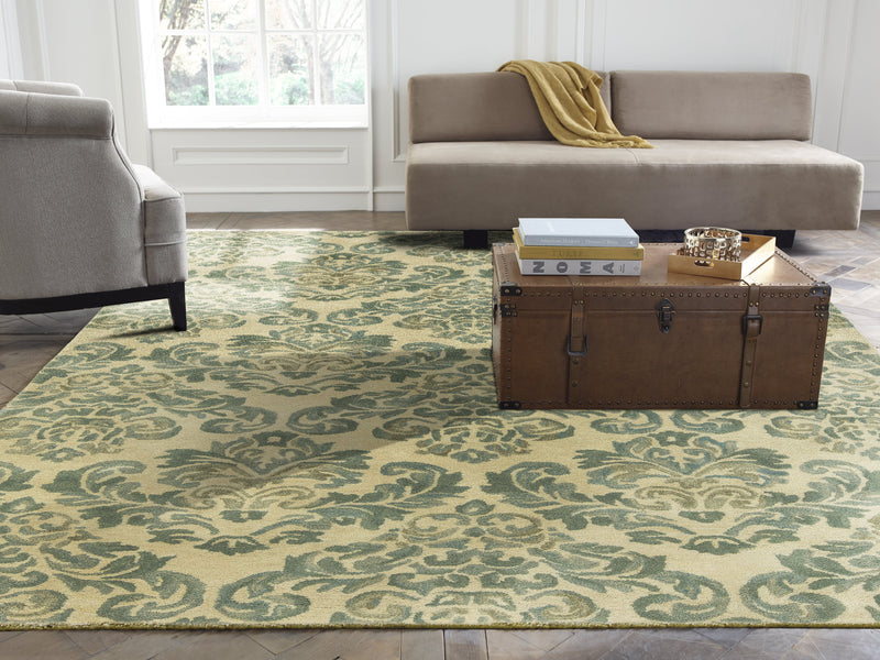 Libra Beige/Jade Hand-Knotted Area Rug - AllRugs