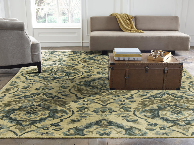 Libra Sand/Bluebell Hand-Knotted Area Rug - AllRugs