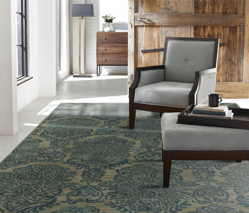 Libra Damask Blue Hand-Knotted Area Rug - AllRugs