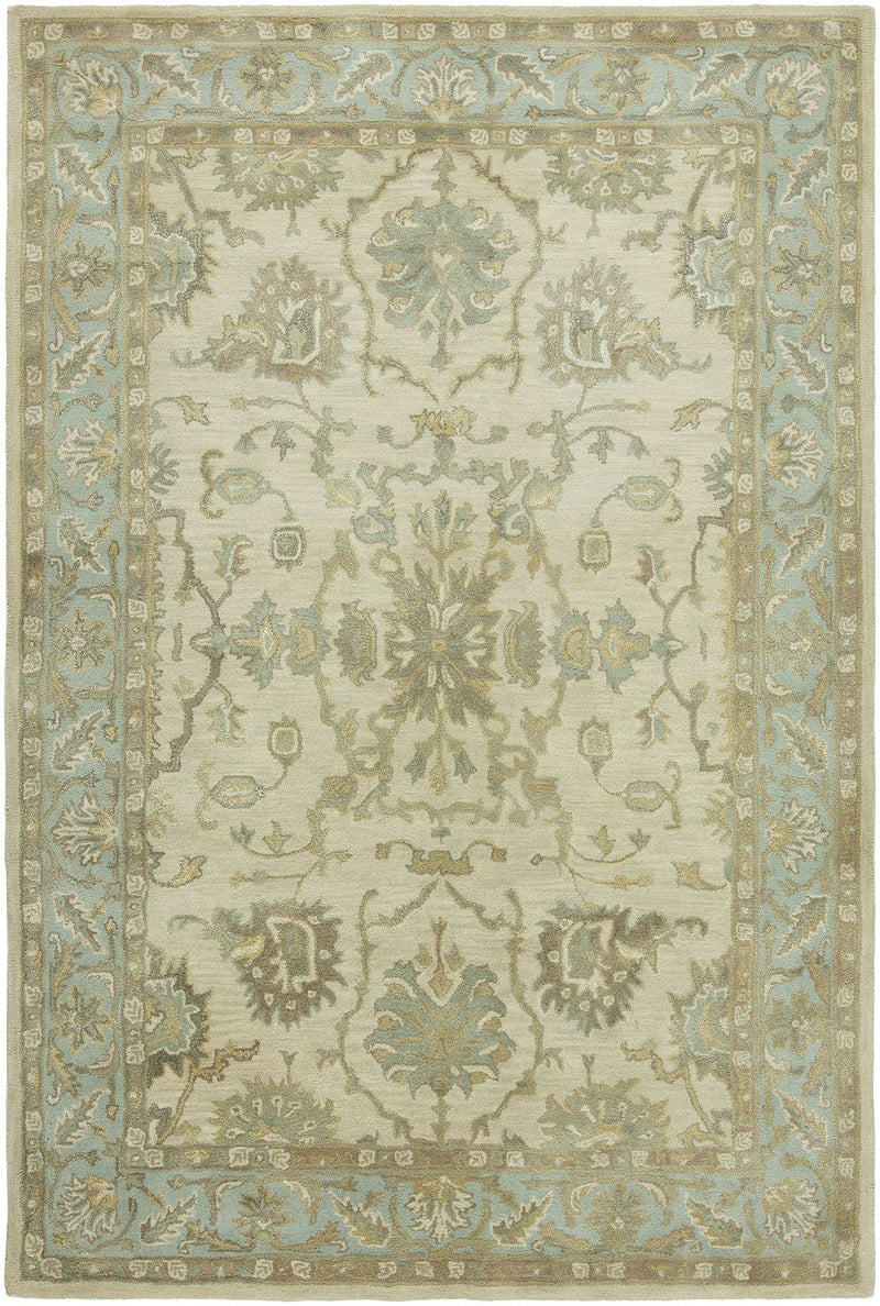 Libra Beige/Blue Hand-Knotted Area Rug - AllRugs