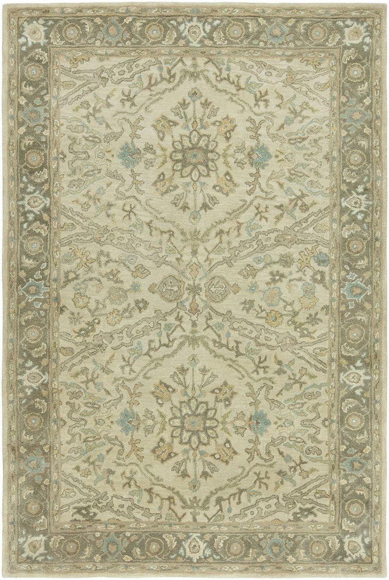 Libra Beige/Green Hand-Knotted Area Rug - AllRugs