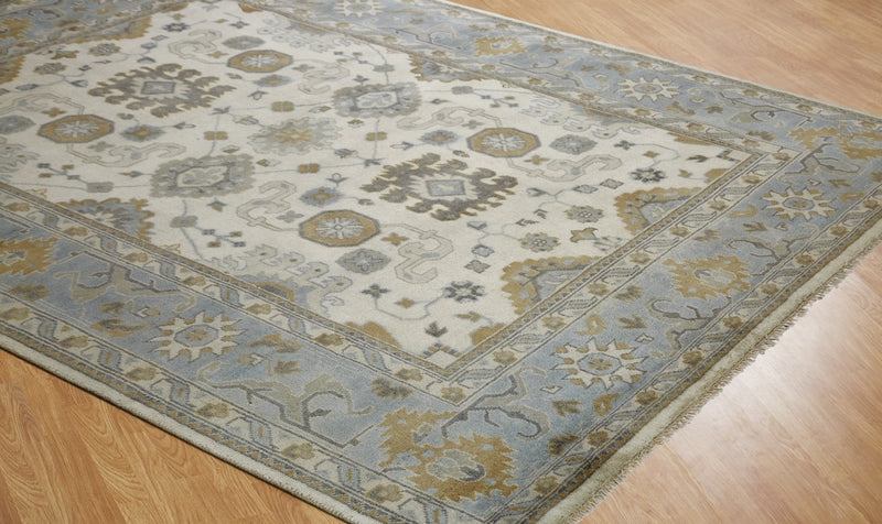 Moonrise Beige Blue Hand-Knotted Area Rug - AllRugs