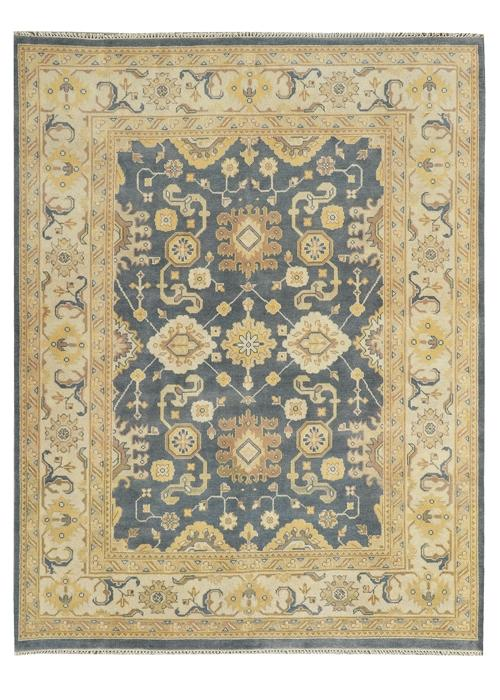 Moonrise Navy/Beige Hand-Knotted Area Rug - AllRugs