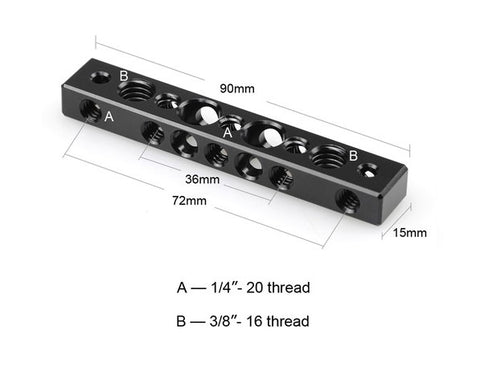 "SmallRig #1091 Cheese Bar w/ 1/4"" & 3/8""Screw Holes"