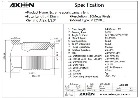 AXION 4.35mm M12 Lens