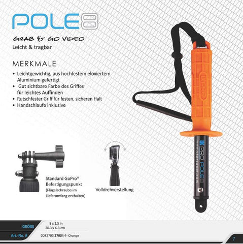 UK Pro Pole 8 Orange Grip for GoPro