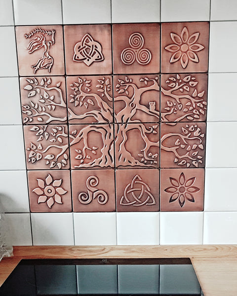 Copper tiles for your kitchen backsplash