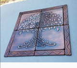 Copper and Brass Tree of Life Tiles - set of 12
