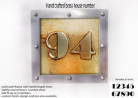 Large brass house number, Metal house number,  SQUARE , Hand made metal sign, hand forged steel rivets, riveted signs, metal signs,