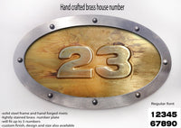Large Metal Brass House Number Oval
