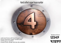 Large copper house number,Metal house number, ROUNDED shape, Hand made metal sign, hand forged steel rivets, riveted signs, metal signs,