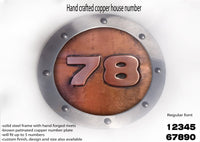 Large Copper Metal House Number Rounded