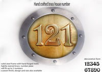 Large Brass House Metal Number Rounded