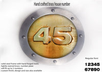 Small Brass house number,Metal house number, ROUNDED shape, Hand made metal sign, hand forged steel rivets, riveted signs, metal signs,