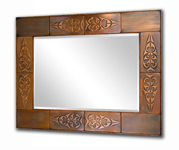 Decorative Copper Mirror Frame - Aztec Design