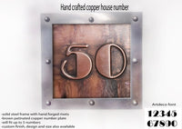 Large Copper House Number Square