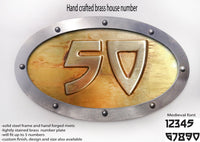 Metal Brass House Number Oval